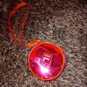 Fila Neon Pink & Orange Circle Clear Bag NWOT